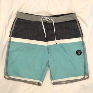 Men's Vissla Boardshorts Teal and Grey Size 34
